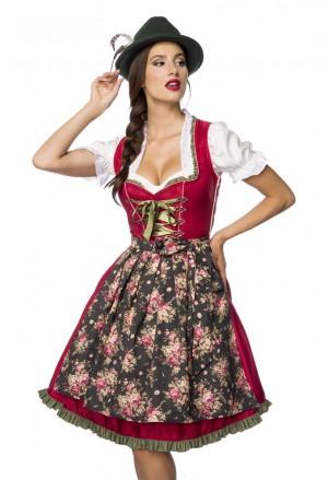 Dirndl červené krojové šaty z denimu