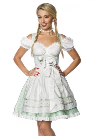 Traditional folk dirndl dress with apron