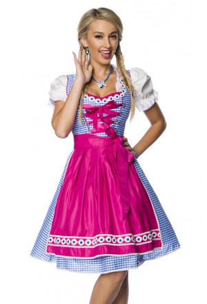 Piping contrast Bavarian folk costume dress