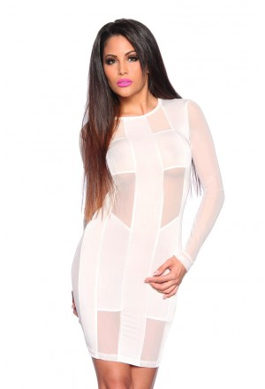 Transparent backless white club dress
