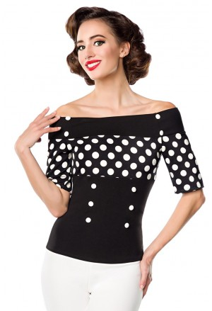 Spotted retro blouse with off shoulder sleeves