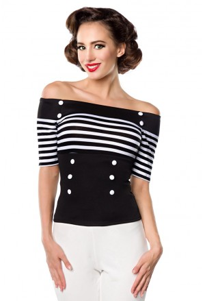 Stripe retro blouse with off shoulder sleeves