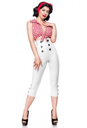 Elegantné biele retro capri nohavice s vysokým pásom