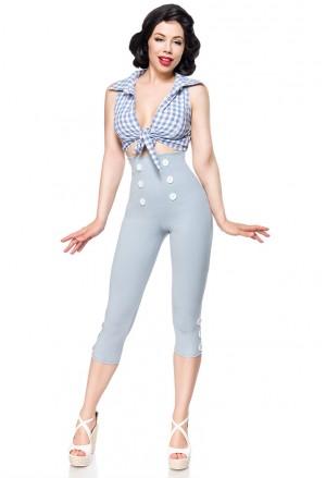 Elegantné šedé retro capri nohavice s vysokým pásom