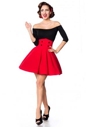 Krátka červená swingová sukňa s vysokým pásom