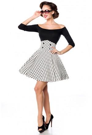 Krátka bieločierna bodkovaná swing sukňa s vysokým pásom