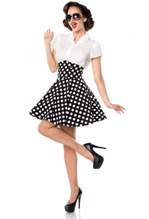Krátka čiernobiela bodkovaná swing sukňa s vysokým pásom