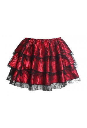 Red ruffled carmen skirt