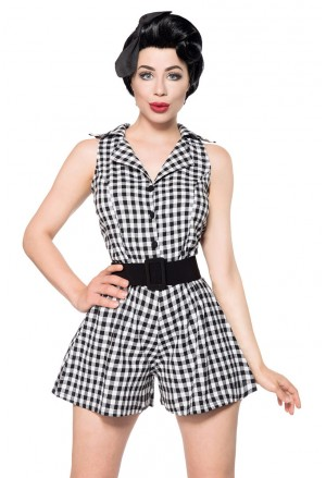 Short checked retro romper