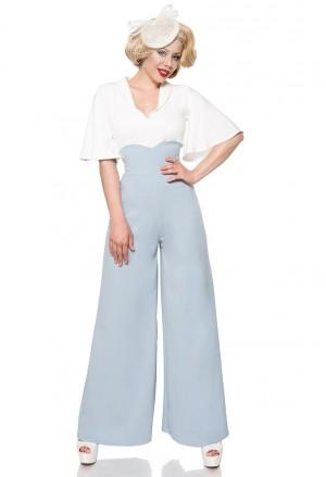 Široké modré Marlene nohavice s vysokým pásom
