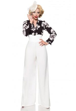 Široké biele Marlene nohavice s vysokým pásom