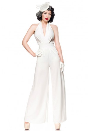 Elegant glamour deep plunge jumpsuit overall