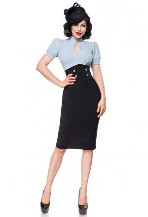 Úzka čierna pencil retro sukňa s vysokým pásom