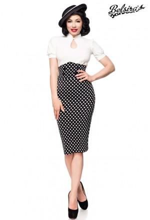 Úzka pencil retro sukňa s vysokým pásom