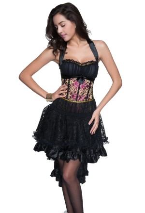 Purple and gold halter variéte burlesque corset