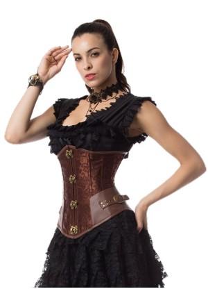 Cyberpunk buckles steampunk underbust corset