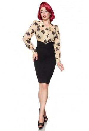 Black pencil high waist retro skirt