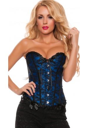 Blue floral brocade corset