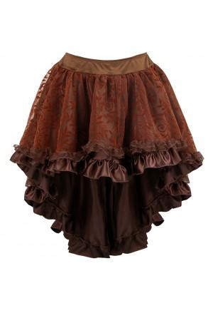 Hnedá steampunková sukňa z čipky