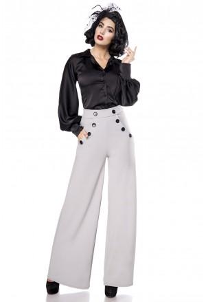 Široké šedé nohavice inšpirované Marlene Dietrich
