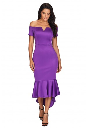 Purple Off the Shoulder Short Sleeve Mermaid Dress