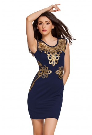 Charming navy dress with gold embroidery
