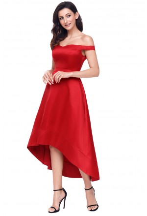Red High-shine High-low Party Evening Dress