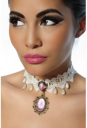 Očarujúci gothic náhrdelník s ružou