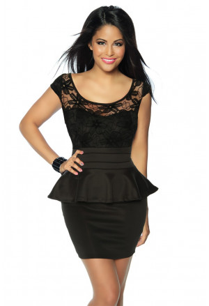 Black peplum vintage lace dress