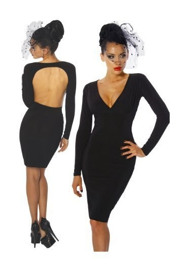 Universal black long sleeve backless dress