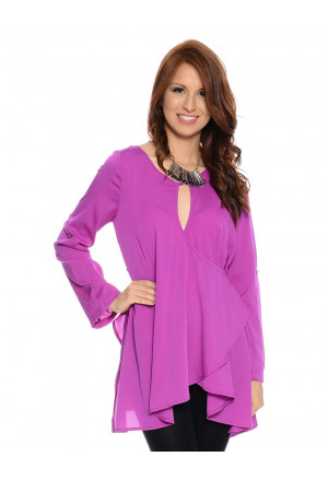 Never Enough Surplice Asymmetrical Blouse
