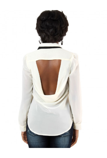Unusual chiffon hi low blouse with a backless cut