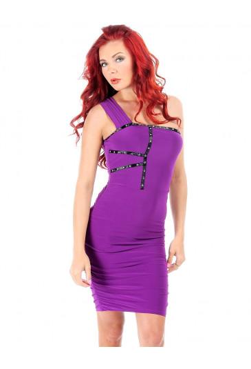 Rebel Stud Dress Purple