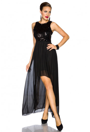 Evening black sequinned gown