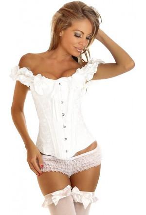 Biely vyšívaný korzet s ramienkami
