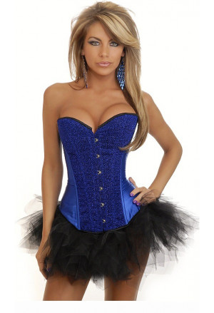 Satin shiny corset - blue