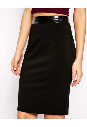 Black Glamorous Pencil Skirt with Pu Waistband