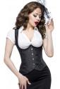 Satin underbust corset LONG - black