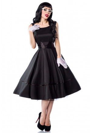 Unique women retro satin black dress