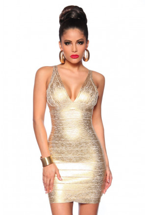 Exclusive gold bandage dress POMPEY