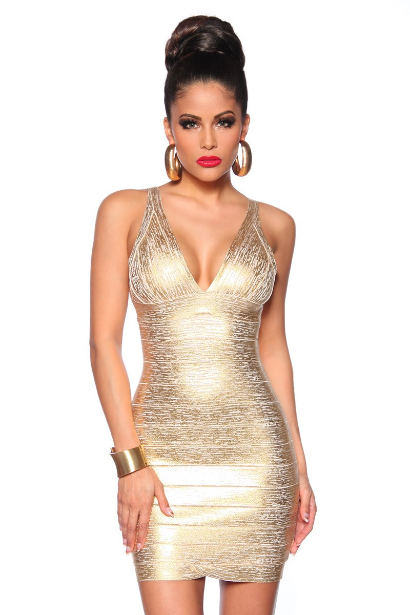 Exkluzívne zlaté bandážové šaty POMPEY - SELECTAFASHION.COM 6c10cf42be
