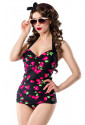 Vintage one-piece swimsuit with cherry pattern