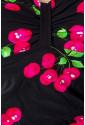 Jednodielne vintage plavky s čerešnovým vzorom