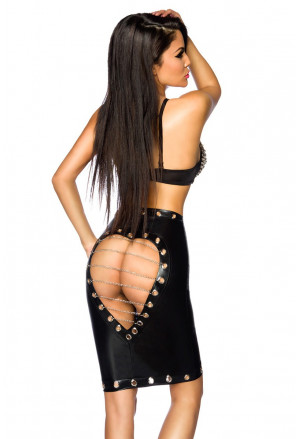 Wetlook skirt with chain
