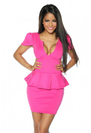 Elegant pink peplum dress SOPHIA