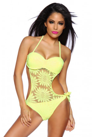 Beatiful lace crochet padded monokini