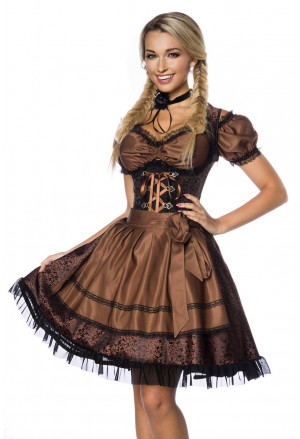 Nádherné krojové šaty z brokátu hnedé