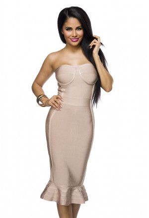 Elegant beige bandage dress OLYMPIA