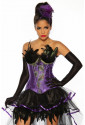 Beautiful purple burlesque corset with feather