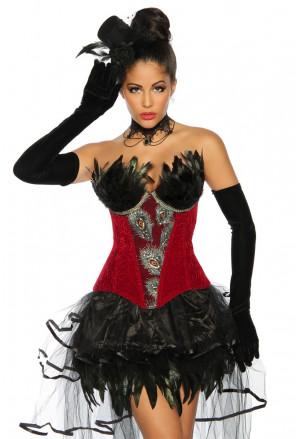 Nádherný červený burleska korzet s perím